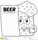 Beer Glass Coloring Menu Character Cartoon Funny Blank Illustration Colouring sketch template