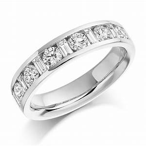 platinum 108ct round brilliant cut baguette cut diamonds With wedding band with cut out for engagement ring