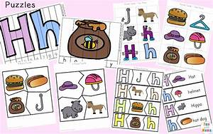 letter h worksheets activities fun with mama With 3 letter word building puzzles
