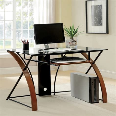 Tempered Glass Computer Desk by Furniture Of America Sirga Modern Grey Tempered Glass