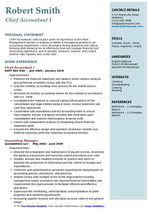 chief accountant resume samples qwikresume