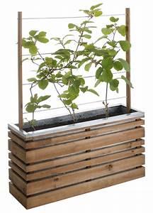 Jardinière En Hauteur : jardini re bois rectangle ligne z 100 avec treillis ~ Nature-et-papiers.com Idées de Décoration