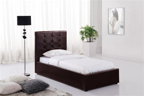 brown ottoman faux leather single bed  storage