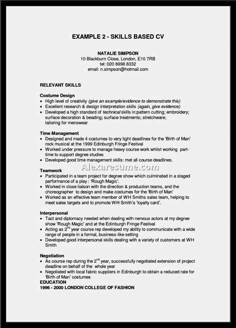 Skills Based Resume Template by Skills Based Cv Exle Resume Template Cover Letter