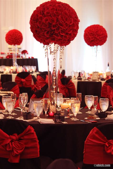 red and black table ls red roses with hanging crystals centerpiece wedding
