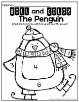 Addition Dice Roll Simple Penguin Winter Sight Math Count Activity Words Kindergarten Theme Number Adding Counting Activities Practice Atividades Colors sketch template