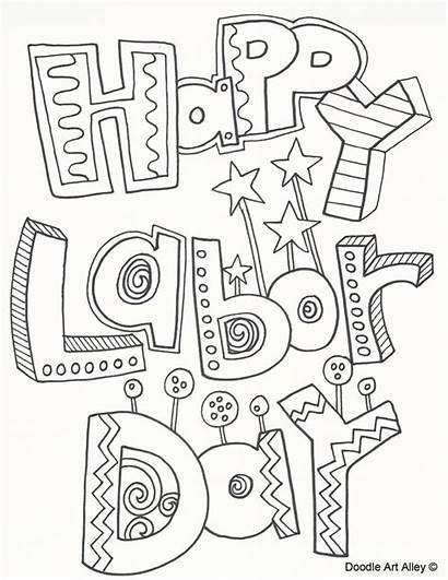 Labor Coloring Doodle Alley Sheets Happy Activities