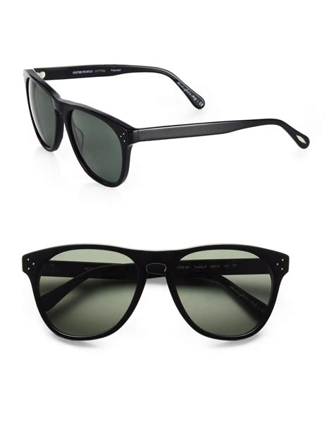 simple aviator black oliver peoples b 58mm square sunglasses in black lyst