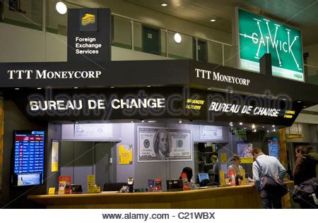 gatwick airport bureau de change corp currency exchange stock photo royalty free