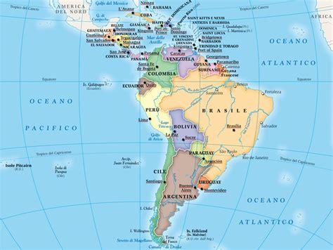 mappa centro sud america cartina centro  sud america