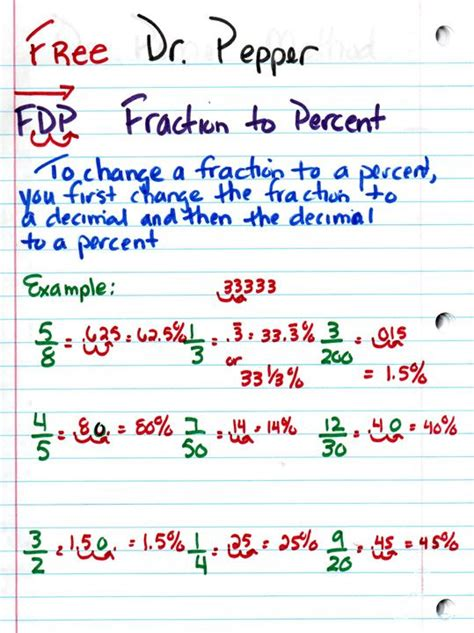 Fdp (fraction  Decimal  Percent)free Dr Pepperthat Will Get Their Attention Advice