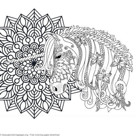 zentangle unicorn  mandala coloring pages getcoloringpagesorg