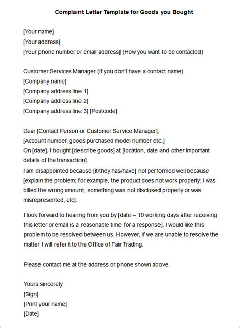 complaint letter   word  format