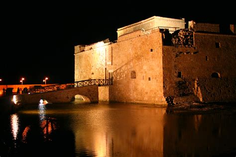 paphos castle  night paphos castle  cyprus  night