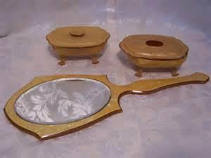 Antique Vanity Dresser Set by Antique Dresser Set Mirror Powder Box Amp Hair Receiver Ebay