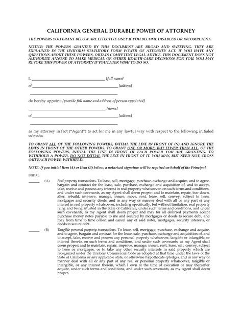 durable power of attorney form for california california general durable springing power of attorney