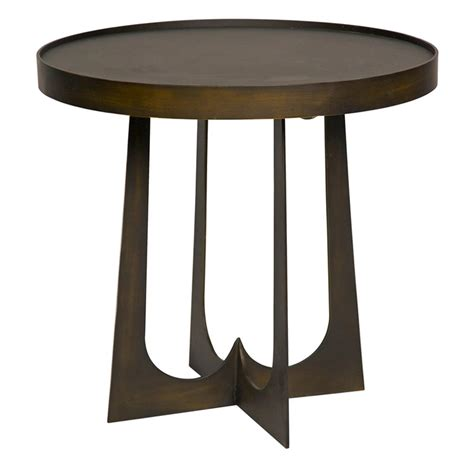 round metal end table devlin industrial loft round metal stone side end table