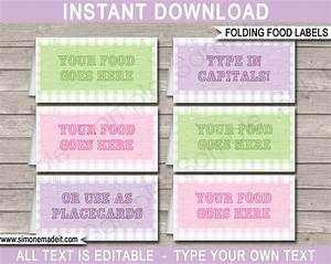 Glamping party food labels place cards printable template for Food label template for party