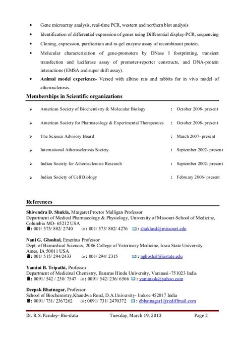 Biology Phd Resume by Dr Ravi S Pandey Resume For Assistant Professor Research Scientist