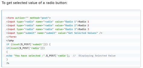 php how to check which radio button a user checked if not in a form stack overflow