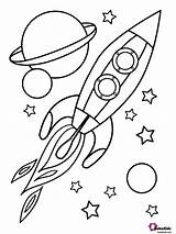 Coloring Space Rocket Planets Outer Stars Bubakids sketch template