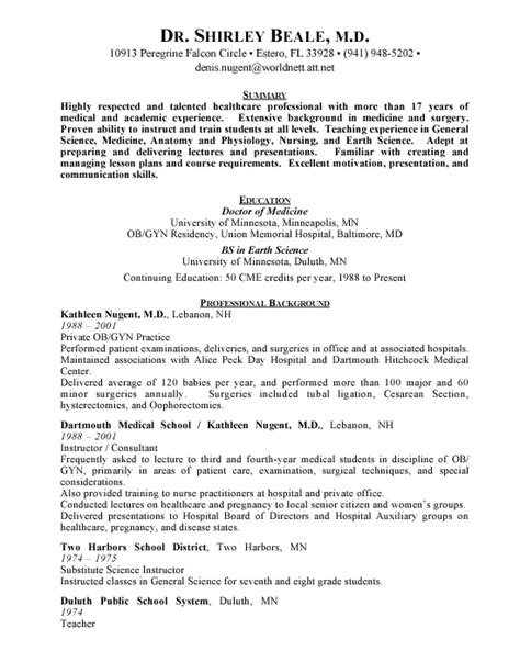 obgyn physician free resumes
