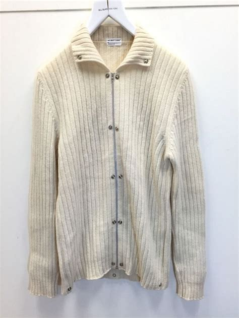 vintage sweater helmut lang vintage archive 1998 ivory zip ribbed button