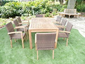 teak rattan garden furniture large chunky stacking set