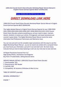 1999 2012 Suzuki Grand Vitara  Escudo  Workshop Repair Service Manual In English French German