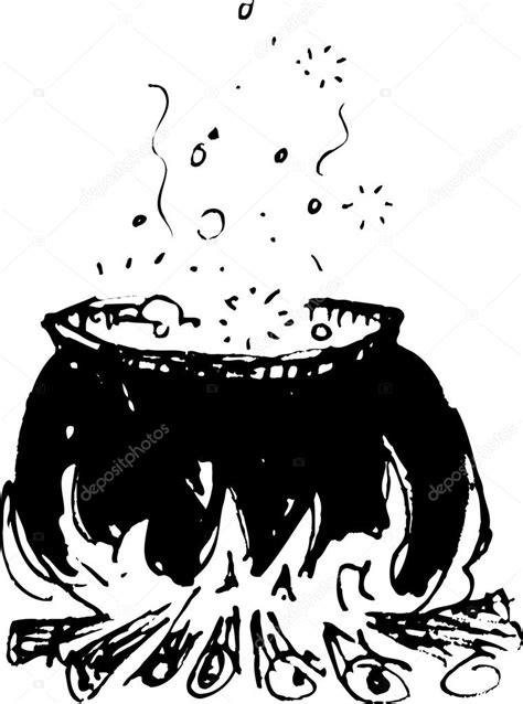 cauldron  brew cooking   fire stock vector