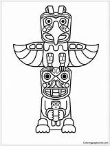 Totem Pole Animals Pages Coloring Coloringpagesonly sketch template