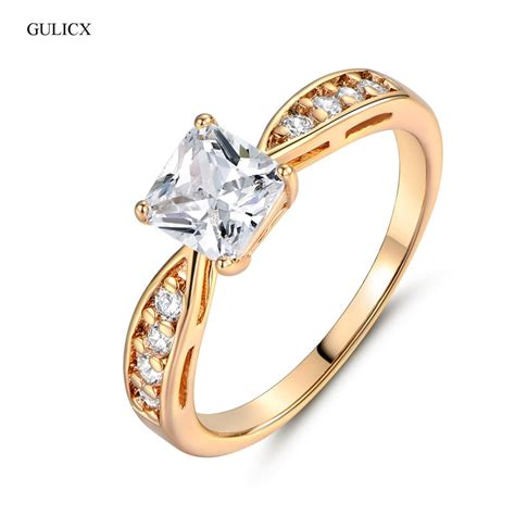 gulicx fashion cheap wedding rings gold color finger ring princess white crystal zircon band