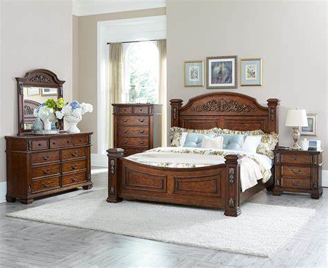 homelegance donata falls bedroom set warm brown  bed