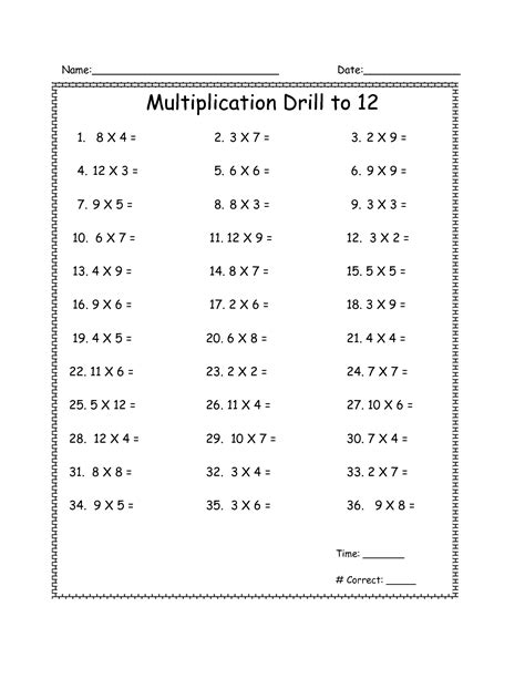 15 Best Images Of Multiplication Drill Worksheets  Math Fact Worksheets Multiplication