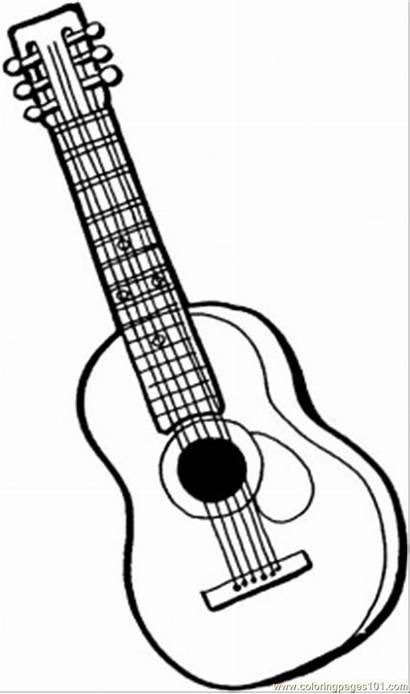 Coloring Pages Instruments Guitar String Instrument Printable