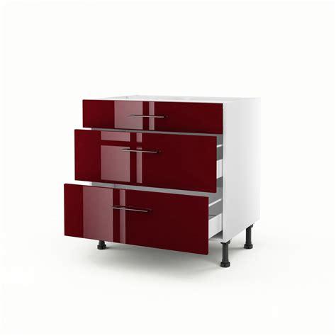 meuble cuisine avec tiroir meuble de cuisine bas 3 tiroirs griotte h 70 x l 80