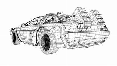 Future Delorean Coloring Sketch Template