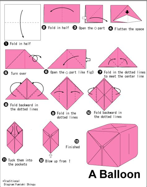 Origami Balloon Instructions Box For