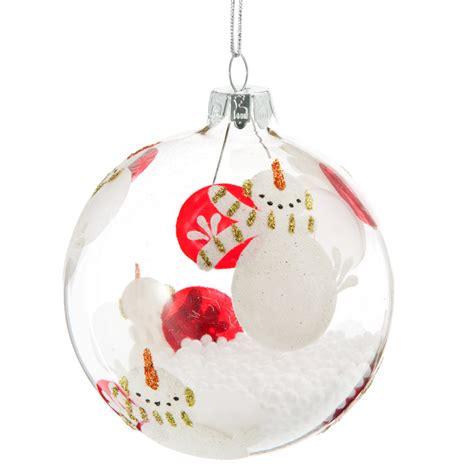 boule de no 235 l en verre 8 cm bonhomme de neige maisons du monde