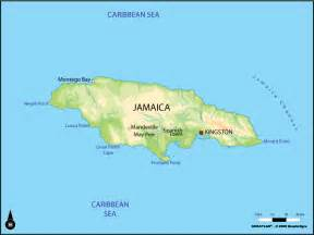 Large Physical Map of Jamaica Jamaica