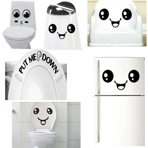 u119 free shipping smiley toilet wall sticker decal mural decor bathroom car gift