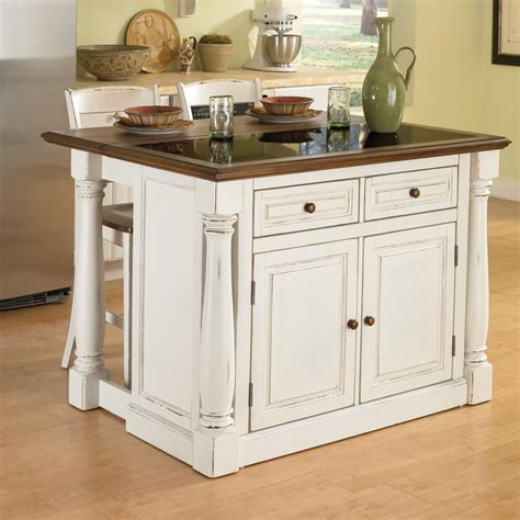 kitchen islands shop home styles white midcentury kitchen island with 2 stools at lowes com