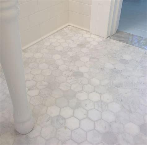 Carrara Marble Tile Floor by 5 Inch Hexagon Carrara Marble Tile Bathroom Floor 4114