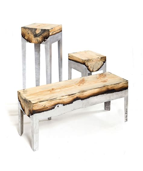 Wood And Metal Unite In Striking Furniture By Hilla Shamia. Ghost Counter Stool. Gray Shower Tile. Modern Entryway Furniture. Contemporary Wood Burning Stoves. Ribbon Windows. Table Behind Couch Name. Salter Construction. Seattle Architecture