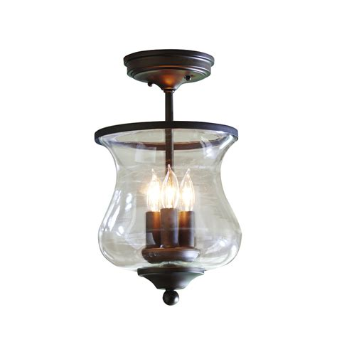 flush mount shop light shop allen roth yately 8 66 in w aged bronze clear glass