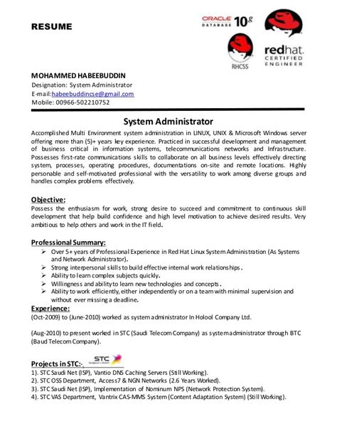 Best Resume For System Administrator by System Administrator Cv