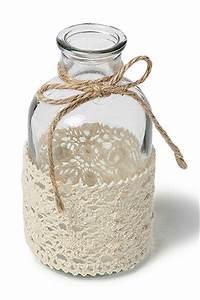Petit Vase En Verre : la mini bouteille vase dentelle et ficelle noel ~ Teatrodelosmanantiales.com Idées de Décoration