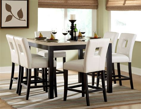 bar height table 6 chairs archstone counter height dining room set from homelegance
