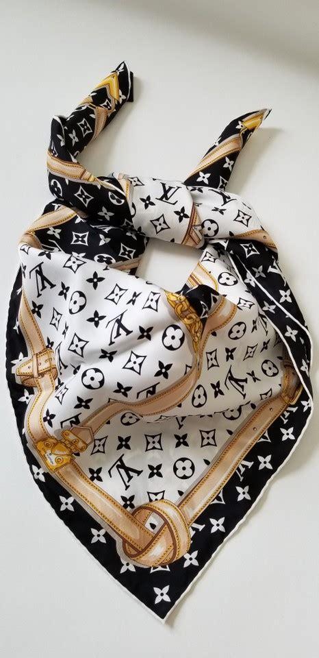 louis vuitton black white  lv monogram confidential bandeau large square scarfwrap tradesy