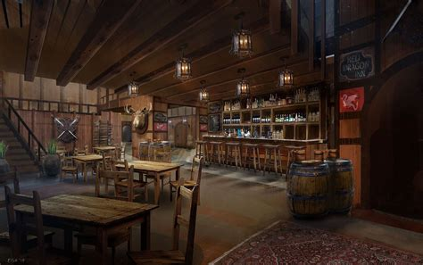 artstation tavern interior simon scales backgrounds